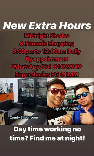 Defy Empire sunglasses and Quincy Pomade midnight shopping hours