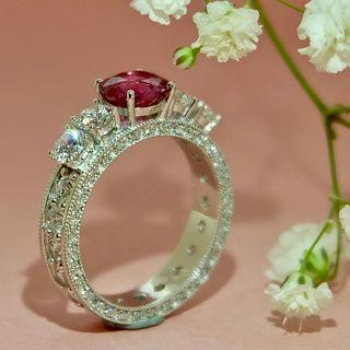 Kedro Pink Sapphire Multi-diamonds 18K White Gold Designer Ring 2018-101