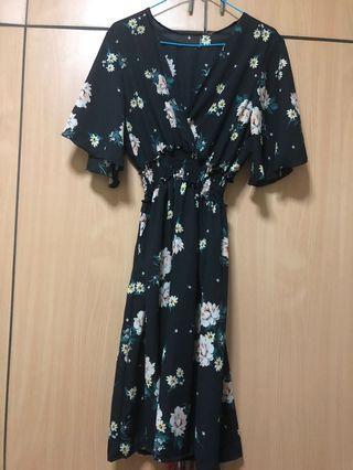 brand new kimono floral black dress