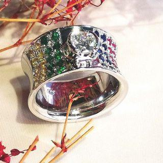 FLAG  MULTI-GEMS RING  engagement designer ring 2018-112