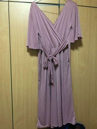 brand new kimono flare jumpsuit in dusty pink