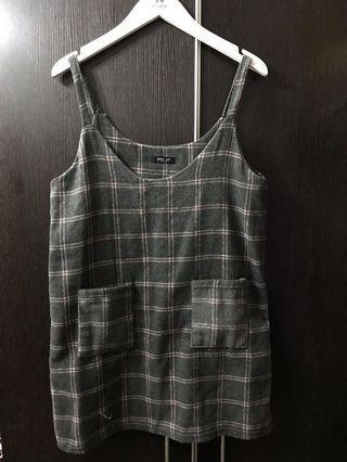 韓國製造🇰🇷灰色格仔背心連身短裙