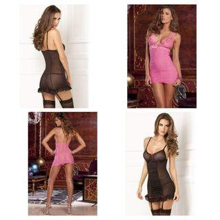 New Ruched Boxed Babydoll Set by Rene Rofe $49each