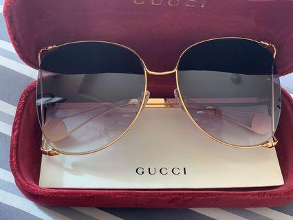 Gucci Oversized Round Frame Metal Sunglasses