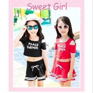 🚚 SALE🔥韓版兩件式 女孩兒童褲裙泳衣 可愛公主流行泳裝