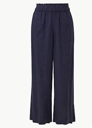 🚚 Marks and Spencer Navy wide leg cropped pants UK8