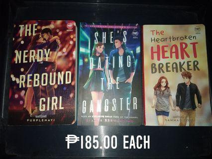 Wattpad Books for Php 185 each ! (The Nerdy Rebound Girl, She's Dating the Gangster, The Heartbroken Heart Breaker)