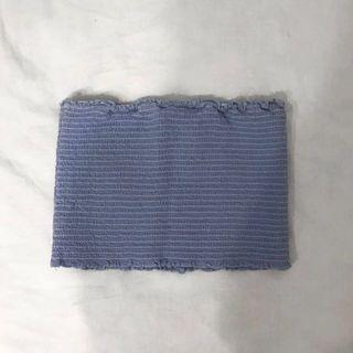 brandy melville smocked blue cleo shirred tube top