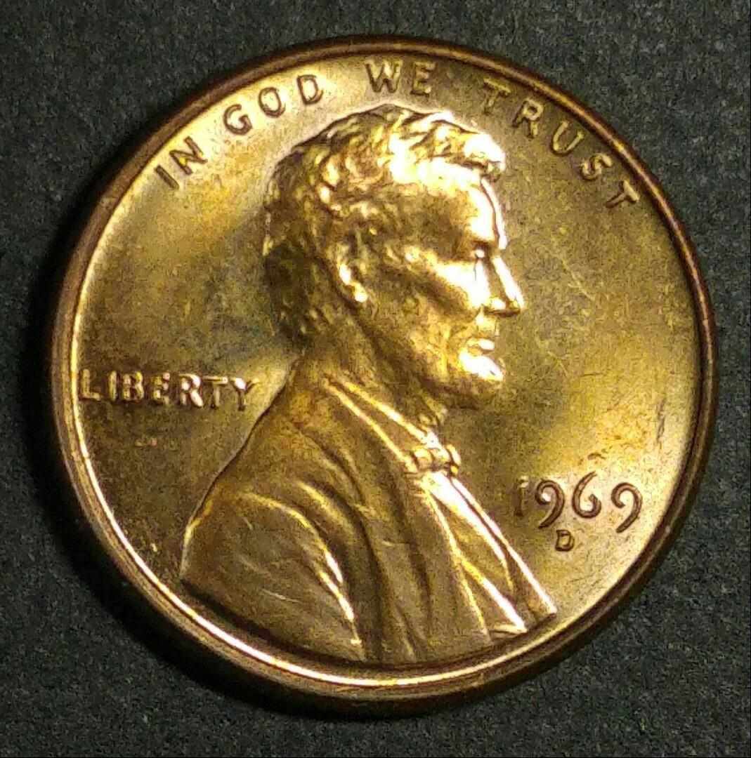1969-D 美國林肯一美仙硬幣一枚