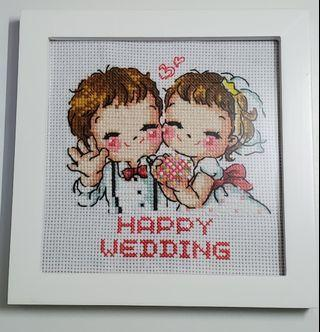 純手工製作十字繡結婚相