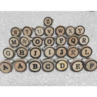 Wooden Alphabet Rings, Adjustable Size