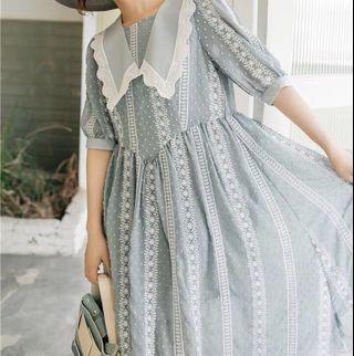 《洋裝 全新》日系蕾絲刺繡花洋裝