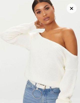 Knitted white jumper