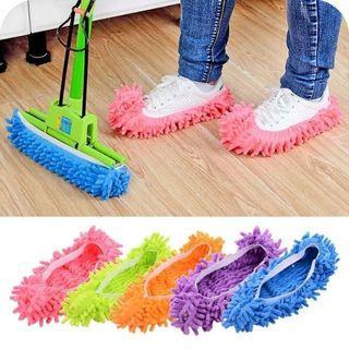 🚚 SALE🔥雪尼爾可拆洗地板清潔擦地懶人鞋套 2支1雙