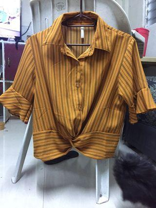 Yellow mustard  striped tie blouse