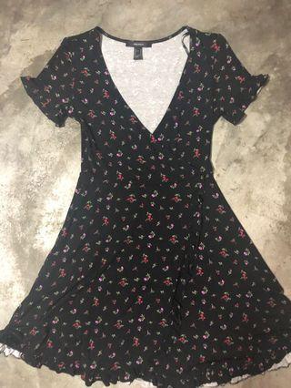 F21 Floral ruffled dress