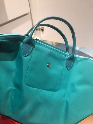 Longchamp short handle (Turqoise)(Medium)(No strap)