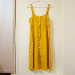 韓製   薑黃 吊帶裙 洋裝