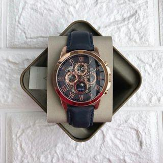 💯 ORIGINAL FOSSIL GRANT AUTOMATIC NAVY LEATHER WATCH