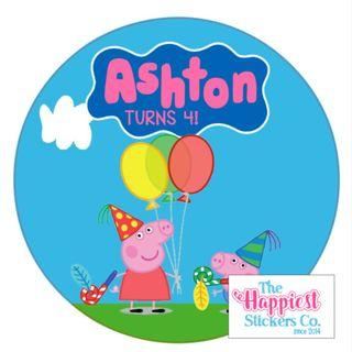Peppa Pig theme birthday party sticker label for goodie bag gift favor baby full month 100 baby shower customised