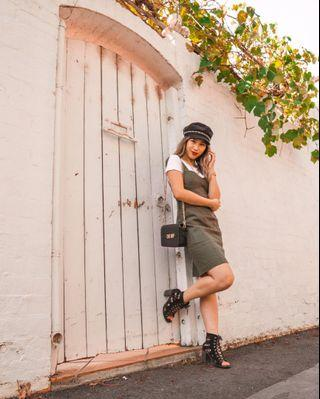 BRAND NEW Dotti olive pinafore