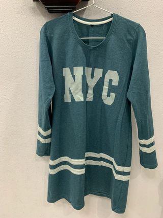 *CLEARANCE* NYC shirt, Long sleeve, plain purple/ green