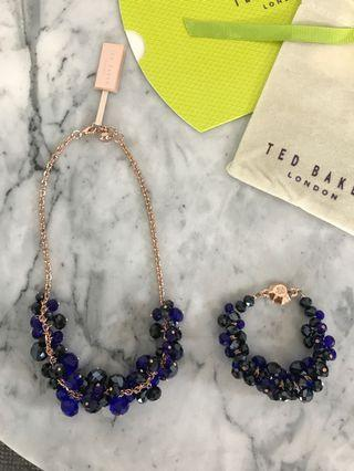 Ted Baker blue beaded necklace and bracelet