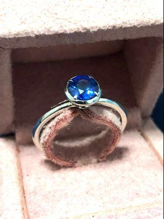 Natural unheated Blue Sapphire (0.64 caret) White Gold Ring