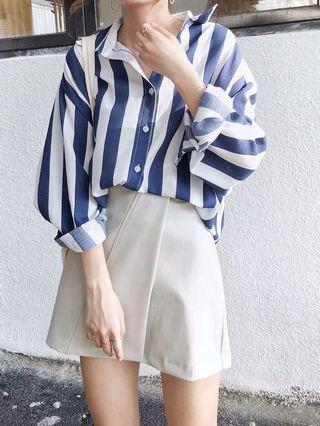 🌸經典百搭直條紋襯衫 藍白/棕白 M/L 氣質百搭款簡單搭配慵懶風學院風長袖襯衫女裝上衣余