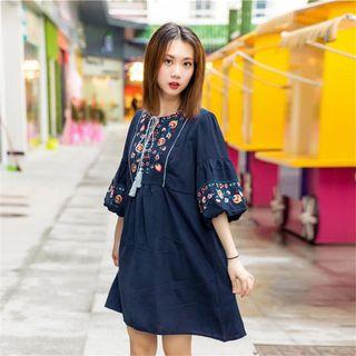 Embroidered Dress navy blue