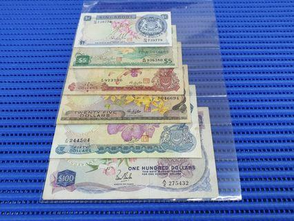 🚚 6X Singapore Orchid Series $1, $5, $10, $25, $50 & $100 Dollar Banknote Currency