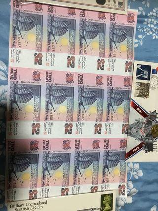 $2 uncut 12 pcs (UNC) with certificates