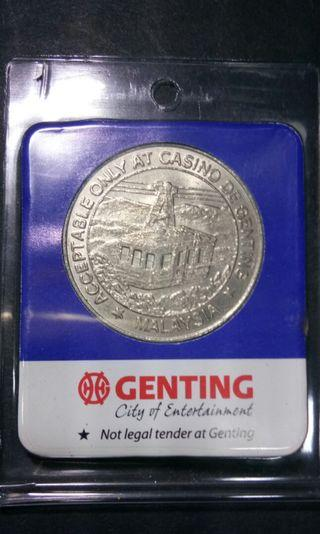 GENTING MALAYSIA ACCEPTABLE ONLY AT CASINO DE GENTING FIVE DOLLAR GAMING TOKEN $5