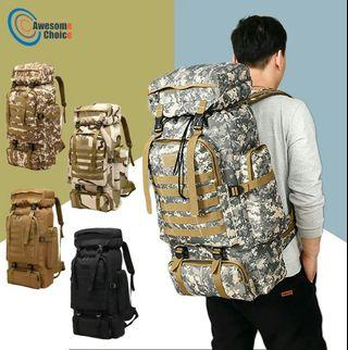 🚚 80L Waterproof Climbing Hiking Military Tactical Backpack Bag Camping Mountaineering Outdoor Sport Molle 3P Bag