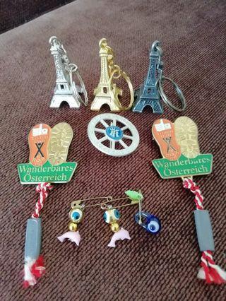 Paris Eiffel Tower Keychain and Austria Badge and Turkish Evil Eyes