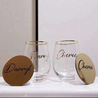 Personalised couple drinking glasses (gold rimmed)
