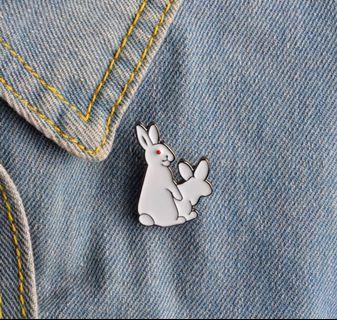 New! FREE Mailing! Bunnies Enamel Pin