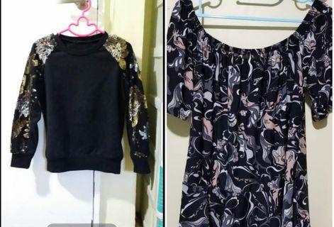 Bundle (Sequined pullover jacket & offshoulder top)