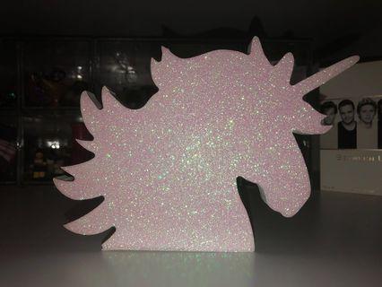 Typo wooden iridescent glitter unicorn