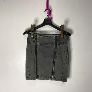 Zara frayed denim skirt