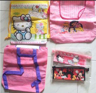 Backpack goodies bag and pencil case