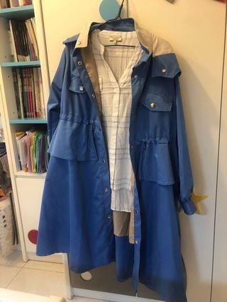 彩藍有帽長外套 tench coat