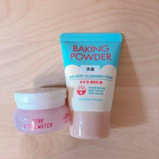全新 Etude House Baking Powder BB Deep Cleansing Foam 30mL Pink Vital Water Cream 10mL 旅行裝