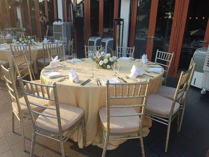Tiffany chair and round table rental