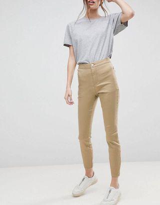 ASOS DESIGN Ankle Length Stretch Skinny Trousers in Stone with Zip Side Pockets