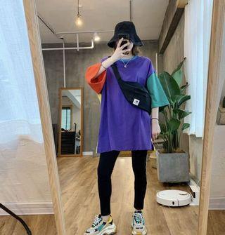 韓國紫併黃色T-shirt $338 One Size: 胸圍:128cm 衣長:82cm