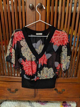 Black Floral Chiffon Blouse