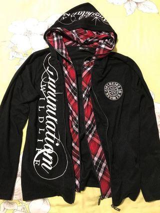 Japanese Punk Rock Black and Plaid Hoodie