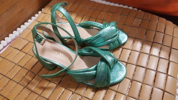 Zara metallic green heels sandal
