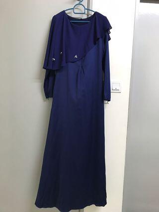 Navy Blue Cape Dress